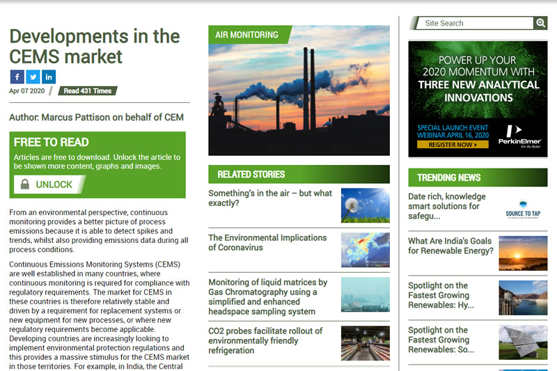 Developments in the CEMS market From Environmental Technology
