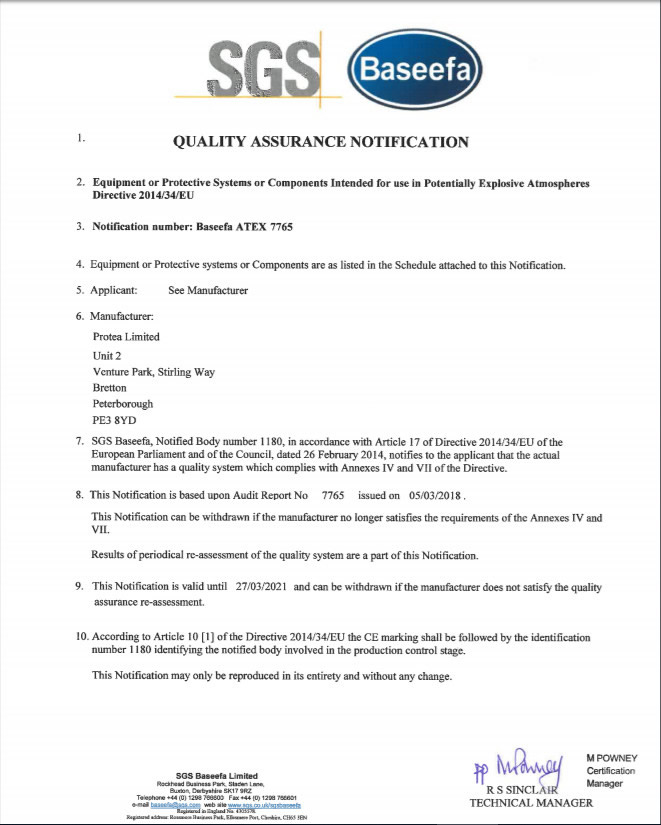 Protea Attain ATEX Quality Assurance Notification